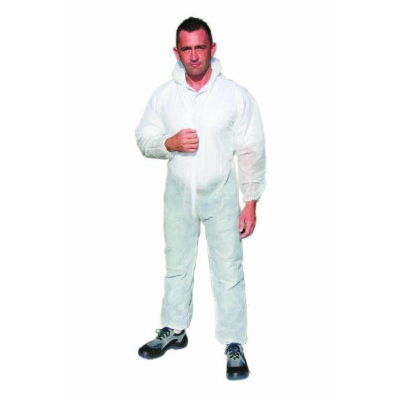 PP overál 40g/m² fehér színban (M-L-XL méretekben)