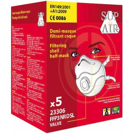 SupAir FFP3SL NR D szelepes csésze formájú pormaszk (5db-os doboz)