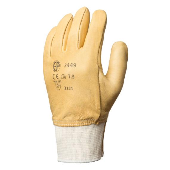 Bőrkesztyű sárga színmarha tenyérrel és kézháttal, víztaszító (8-10)