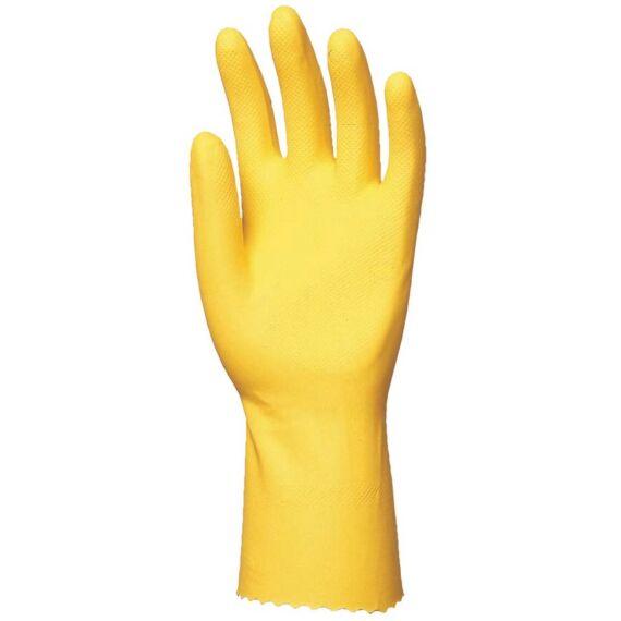 HTG sárga gumikesztyű 30cm/0,5mm pamutbolyhozott belsővel (7-10)