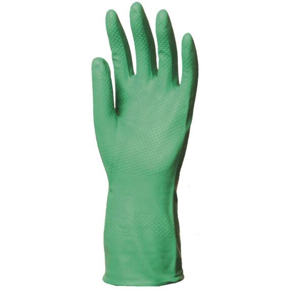 Vegyszerálló zöld nitril kesztyű, 32 cm hosszú, 4 mm vastag (7-10)