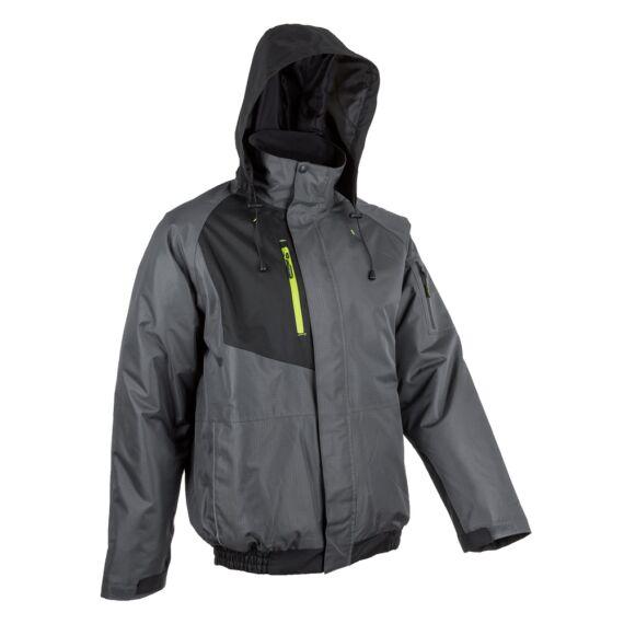 Goma szürke-fekete ripstop téli dzseki kapucnival (S-4XL)