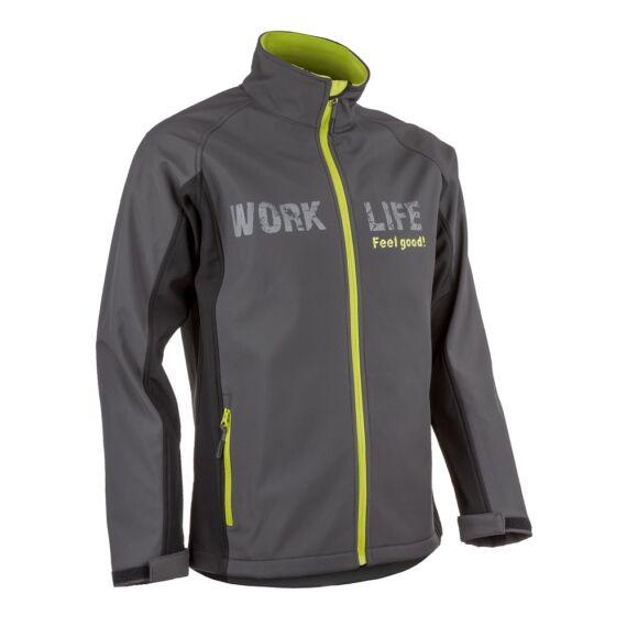 Piman szürke/lime sportos férfi softshell kabát (S-3XL)