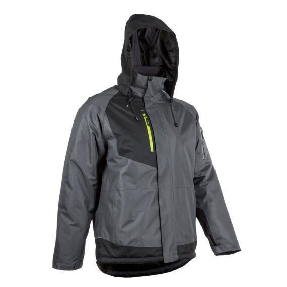 Yuzu szürke-fekete ripstop téli kabát kapucnival (S-4XL)