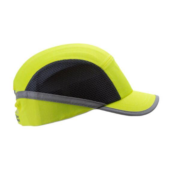 Fejvédős baseball sapka szellőző betéttel, közepes silddel (HV sárga)