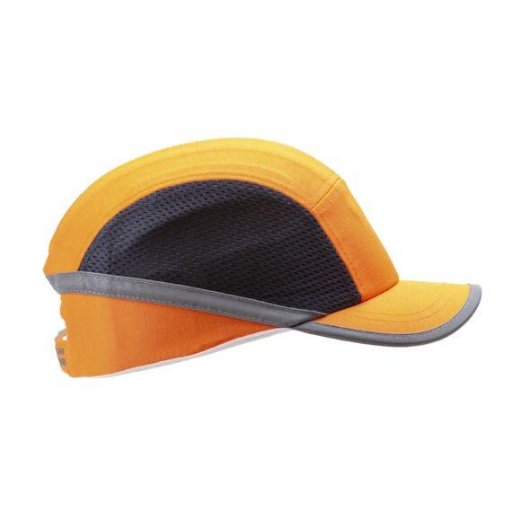 Fejvédős baseball sapka szellőző betéttel, közepes silddel (HV narancssárga)