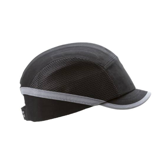 Fejvédős baseball sapka szellőző betéttel, rövid silddel (fekete)