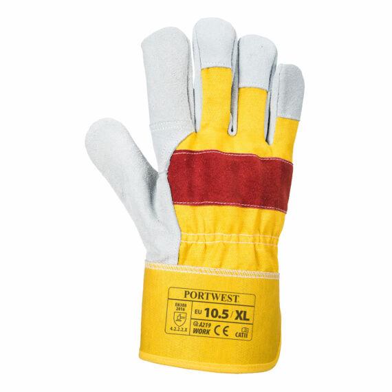 A219 Classic Chrome Rigger sárga-piros bőrkesztyű (XL méret)