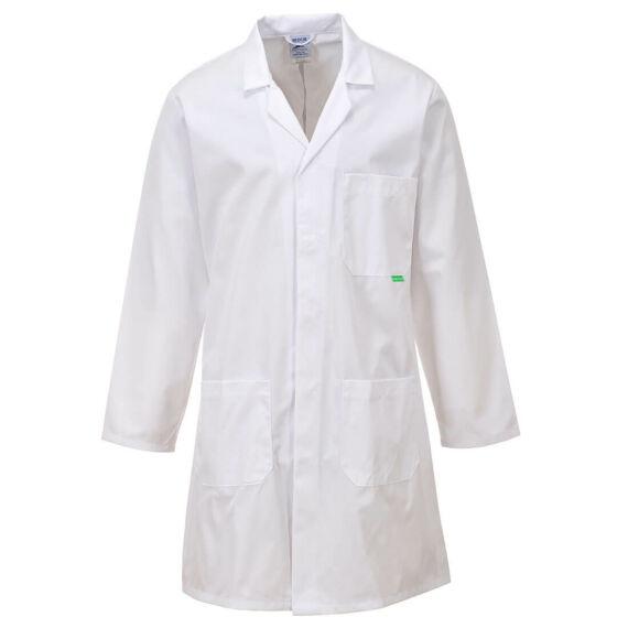 M852 Antimikrobiális fehér laborköpeny (XS-4XL)