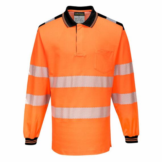 T184 PW3 Hi-Vis hosszú ujjú narancs-fekete pólóing (S-5XL)