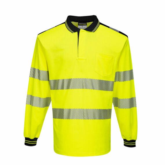 T184 PW3 Hi-Vis hosszú ujjú sárga-fekete pólóing (S-5XL)