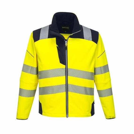 T402 PW3 Hi-Vis sárga-navy softshell kabát (XS-6XL)