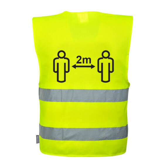 Távolságtartásra figyelmeztető jól láthatósági mellény 2m Yellow