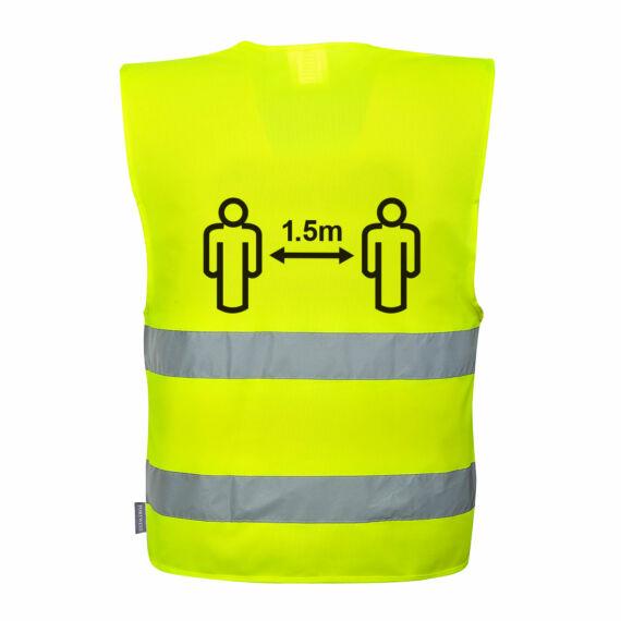 Távolságtartásra figyelmeztető jól láthatósági mellény 1 Yellow