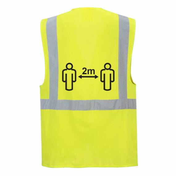 Távolságtartásra figyelmeztető vezetői mellény 2m Yellow