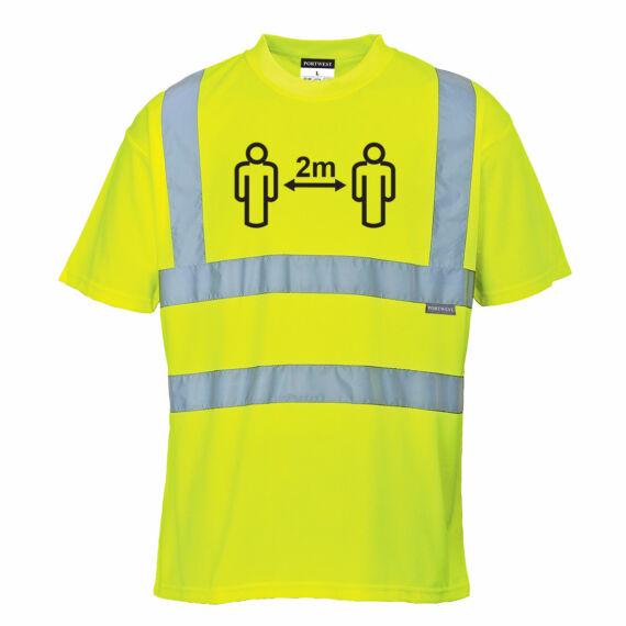 Távolságtartásra figyelmeztető Hi-Vis póló Yellow