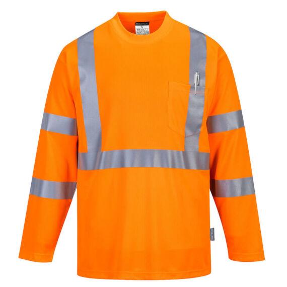 Hi-Vis Pocket hosszú ujjú póló Orange
