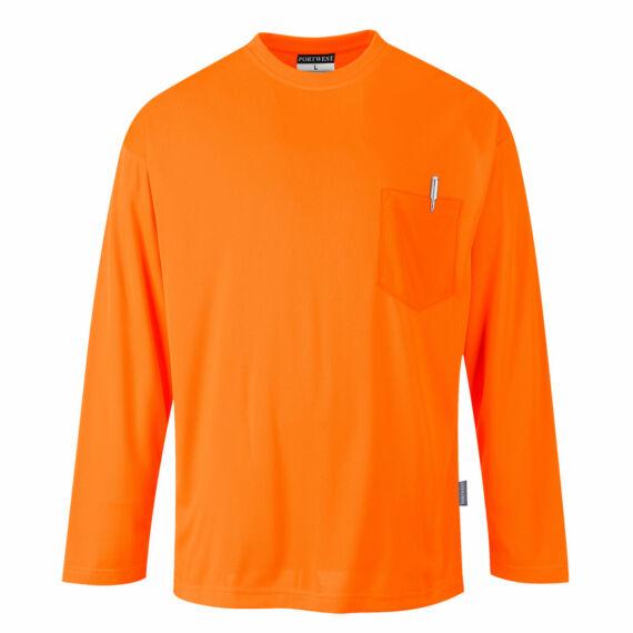 Day-Vis hosszú ujjú zsebes póló Orange